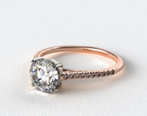 14K Rose Gold Pave Cathedral Claw Prong Engagement Ring