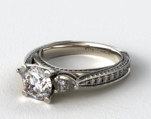 18k White Gold Pear and Pave Cathedral Engagement Ring