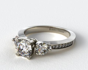 18k White Gold Milgrain Round and Pave Tapered Engagement Ring