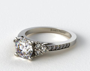 14k White Gold Pave Trio Engagement Ring