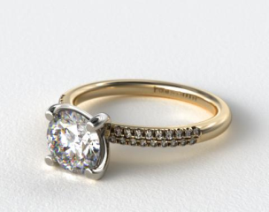 14K Yellow Gold Rounded Pave Engagement Ring