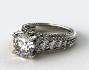 18K White Gold Graduated Pave Arch Engagement Ring