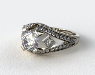 Platinum Geometric Inspired Diamond Engagement Ring