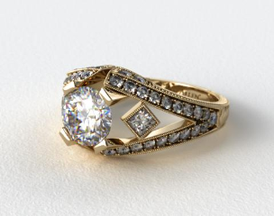 14k Yellow Gold Geometric Inspired Diamond Engagement Ring