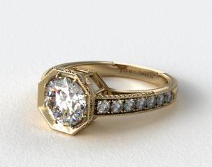 14K Yellow Gold Zinnia Inspired Geometric Engagement Ring
