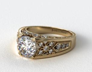 14k Yellow Gold Diamond Flower Engagement Ring