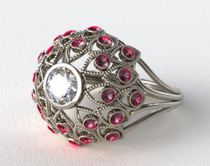 14k White Gold Ruby Firework Engagement Ring