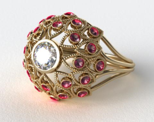 18k Yellow Gold Ruby Firework Engagement Ring