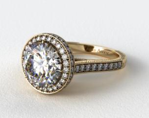 14K Yellow Gold Rippling Wave Diamond Engagement Ring