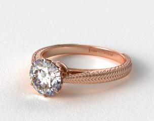 14K Rose Gold Beaded Ripples Diamond Engagement Ring