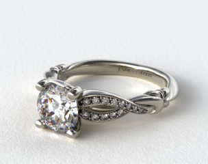 Platinum Pave Crossover Engagement Ring