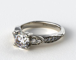 14K White Gold Button and Tied Graduated Pave Engagment Ring