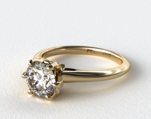 14K Yellow Gold Diamond Accented Prong Engagement Ring