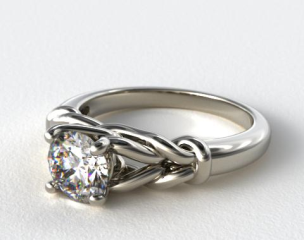 14K White Gold Diamond Love Knot Solitare