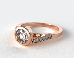 14K Rose Gold Pave Bypass Bezel Set Diamond Engagement Ring