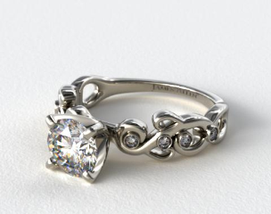 14K White Gold Blossoming Vine Diamond Engagement Ring