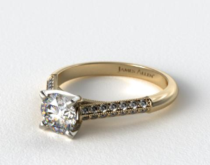18K Yellow Gold Pave Knife Edge Cathedral Diamond Engagement Ring