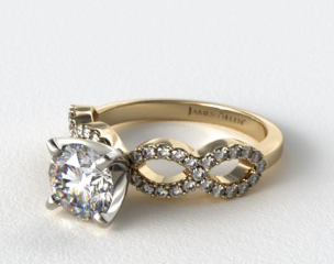 14K Yellow Gold Pave Infinity Diamond Engagement Ring
