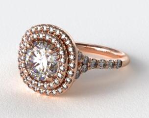 14K Rose Gold Diamond Split Shank Double Halo Pave Engagement Ring