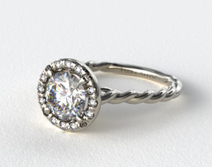 18K White Gold Pave Halo Cabled Diamond Engagement Ring