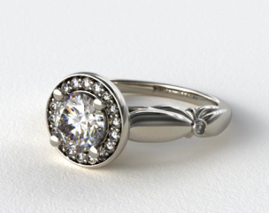 Platinum Sculpted Floral Diamond Halo Engagement Ring