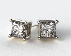 Pair of Ladies Classic 18k White Gold  Princess Cut Settings