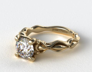 14K Yellow Gold Diamond Accented Sculpted Designer Engagement Ring