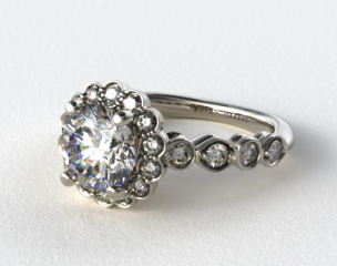 18K White Gold Diamond Floral Halo Engagment Ring