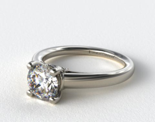 18k White Gold Double Pave Leaf Engagement Ring