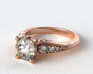 14K Rose Gold Graduated Pave Swirl Engagement Ring