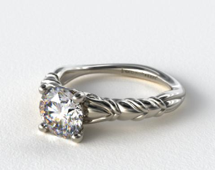 14k White Gold Cascading Trellis Engagement Ring