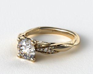 14k Yellow Gold Single Drop Pave Wavy Engagement Ring