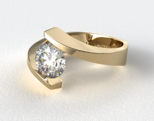 14K Yellow Gold Spiral Tension Set Engagement Ring