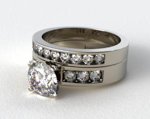 Platinum 0.75ct Channel Set Round Shaped Diamond Wedding Set