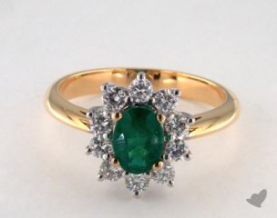 18K Two Tone 0.84ct Oval Shape Green Emerald Starburst Ring