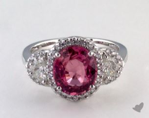 18K White Gold 3.40ct  Cushion Shape Pink Sapphire Ring