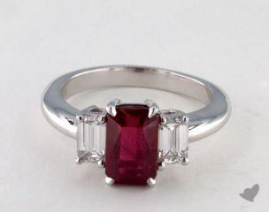 Platinum 2.37ct  Emerald  Shape Ruby Three Stone Ring