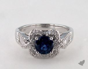 18K White Gold 1.00ct  Round Blue Sapphire Baguette Ring
