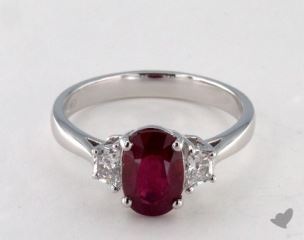 Platinum 2.10ct  Oval Shape RubyThree Stone Ring