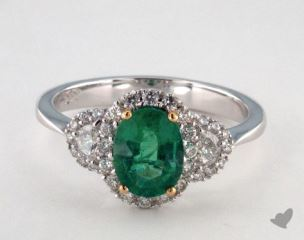 18k two tone - 1.02ct Oval- - Green Emerald - Martina Ring