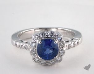 18K White Gold 1.37ct  Round  Blue Sapphire Scallop Halo Ring