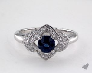 "18K White Gold 0.75ct  Round Blue Sapphire ""Lillian"" Ring"