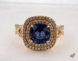 18K Yellow Gold 2.15ct  Cushion Shape Blue Sapphire Ring
