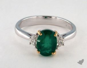 18K Two Tone 1.60ct  Oval  Shape Green Emerald Ring