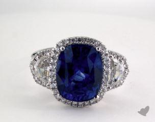 Platinum - 7.52ct Oval- - Blue Sapphire - Tamara Ring