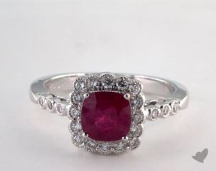 18K White Gold  1.28ct Cushion Shape Ruby Scallop Halo Ring