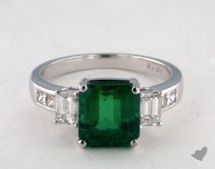 Platinum 2.81ct Green Emerald Three Stone Ring