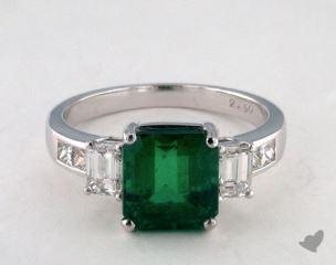 Platinum 2.81ct Green Emerald Three Stone Ring