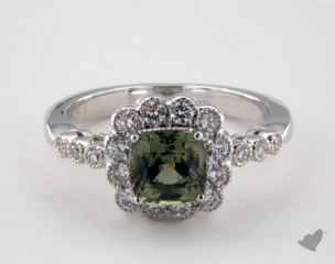 18K White Gold 1.53ct  Cushion Shape Green Sapphire Scallop Ring
