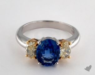 18K Yellow and platinum - 2.72ct  - Oval - Blue Sapphire - Gossamer Ring